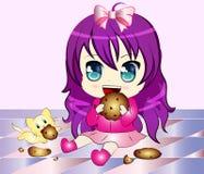 Cartoon Girl eating Cookie. Vector Illustration of a Cartoon Girl eating cookie with a cat royalty free illustration