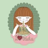 Cartoon girl eating pasta stock photos