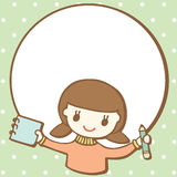 Cartoon girl with empty space for your text Royalty Free Stock Images