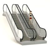 Cartoon girl on escalator Royalty Free Stock Photos