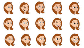 Cartoon girl expressions collection vector illustration