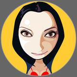 Cartoon girl face brunette on the background of a yellow circle Royalty Free Stock Photos