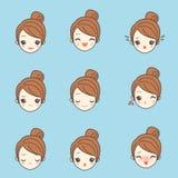 Cartoon girl face Stock Photos