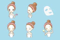 Cartoon girl with facial mask Stock Photos