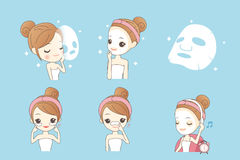 Cartoon girl with facial mask Royalty Free Stock Image