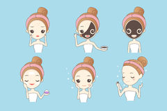 Cartoon girl with facial mask. Cartoon girl care her face with mask, facial, beauty Stock Images