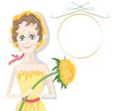 Cartoon girl Fairy dandelion ,  , white background Royalty Free Stock Photos