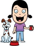 Cartoon Girl Feeding Dog Royalty Free Stock Images