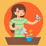 Cartoon Girl Female Woman Character Bird Watering Flower Icon on Stylish Background Design Vector Illustration Royalty Free Stock Photo