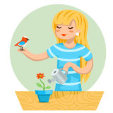 Cartoon Girl Female Woman Character Bird Watering Flower Icon on Stylish Background Design Vector Illustration Stock Photography