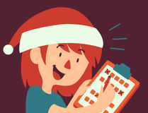 Cartoon Girl Filling Form Wearing a Christmas Hat Royalty Free Stock Images
