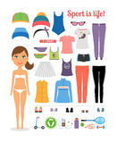 Cartoon Girl with Fitness Clothing and Equipment Stock Images