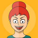 Cartoon girl. Flat style. Stock Photo