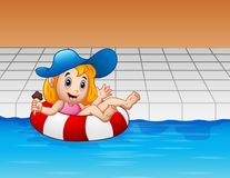 Cartoon girl floating with lifebuoy in swimming pool. Illustration of Cartoon girl floating with lifebuoy in swimming pool Stock Photos