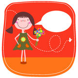Cartoon girl with flowers Stock Photo