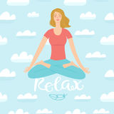Cartoon girl flying in the skies in yoga pose Royalty Free Stock Photography