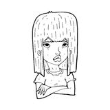 Cartoon girl with folded arms Royalty Free Stock Photography