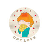 Cartoon girl. Cartoon funny child eating bread and an inscription one love on a white background. Vector. Illustration for printing on T-shirts, postcards Royalty Free Stock Image