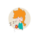 Cartoon girl. Funny cartoon girl falls asleep with cup of coffee on a white background. Vector. Illustration for printing on T-shirts, postcards, posters Royalty Free Stock Images