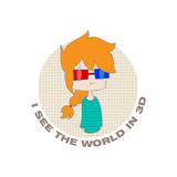 Cartoon girl. Funny cartoon girl, glasses and the inscription I see the world in 3D on a white background. Vector. Illustration for printing on T-shirts Royalty Free Stock Photo
