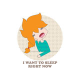 Cartoon girl. Funny cartoon girl and the inscription I want to sleep right now on a white background. Vector. Illustration for printing on T-shirts, postcards Stock Photography