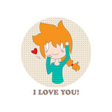 Cartoon girl. Funny little cartoon girl, heart and the words I love you on a white background. Vector. Illustration for printing on T-shirts, postcards, posters Royalty Free Stock Images
