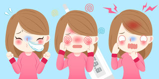 Cartoon girl get cold. Cute cartoon girl get cold and feel uncomfortable Royalty Free Stock Photography