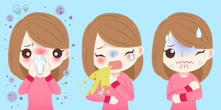 Cartoon girl get hay fever. Cute cartoon girl get hay fever and feel uncomfortable royalty free illustration