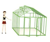 Cartoon girl with green house. 3d render of cartoon girl with green house Stock Images