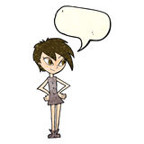 Cartoon girl with hands on hips with speech bubble Royalty Free Stock Images