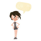 Cartoon girl with hands on hips with speech bubble Royalty Free Stock Photo