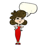 Cartoon girl with hands on hips with speech bubble Stock Image