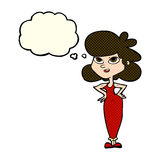 Cartoon girl with hands on hips with thought bubble Royalty Free Stock Images