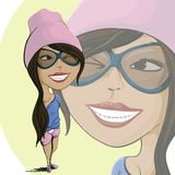 Cartoon girl Stock Photography