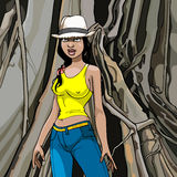 Cartoon girl in a hat, T-shirt and jeans on a wood background. Tourist girl in a hat on a background of a huge tree trunk Stock Image