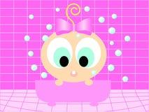 Cartoon girl having bath Royalty Free Stock Images