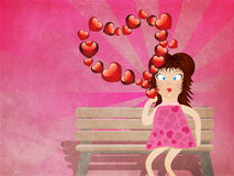 Cartoon girl with hearts on grunge background Royalty Free Stock Image