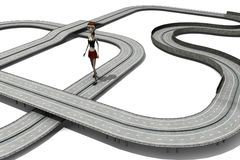 Cartoon girl on highway Royalty Free Stock Images