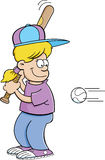 Cartoon girl hitting a baseball Stock Photos