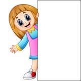 Cartoon girl holding blank sign Stock Photos