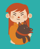 Cartoon Girl Holding her Pet Dog. Vector illustration of a cartoon girl holding a brown dog in her arms. Characters  from background Stock Images