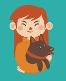 Cartoon Girl Holding her Pet Dog Stock Images