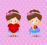 Cartoon girl holding love and flower Stock Photography