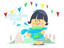 Cartoon girl is holding water bowl, Songkran Festival, Culture in Thailand, Vector Illustration royalty free illustration