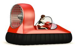 Cartoon girl in hovercraft Stock Image