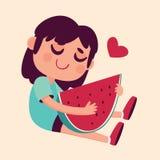 Cartoon Girl Hugging Watermelon Royalty Free Stock Photos