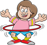 Cartoon girl with a hula hoop Royalty Free Stock Photos