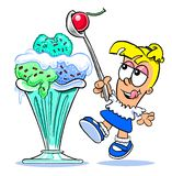 Cartoon girl with ice cream sundae Stock Photo