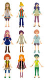 Cartoon girl icon. Vector drawing Stock Photography