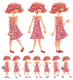 Cartoon girl illustrations set. Stock Image